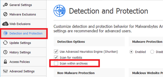 Configure the detection and scanning options in Malwarebytes Anti-Malware