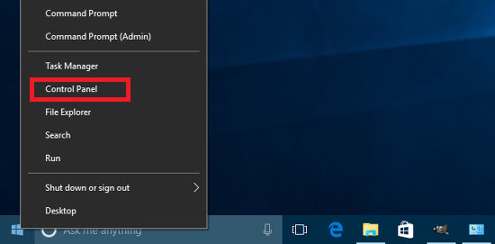 Right click the Start button in Windows 10 to access a menu of commands