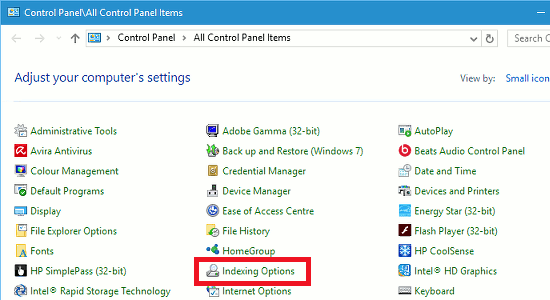 Indexing Options in the Windows Control Panel