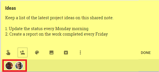 The people that are sharing a Google Keep note are shown at the bottom of the note