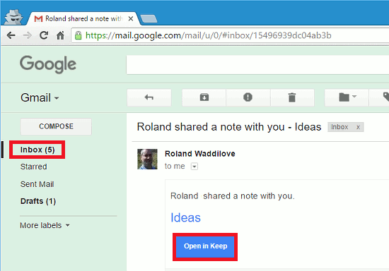 An invitation to share a Google Keep note in Gmail