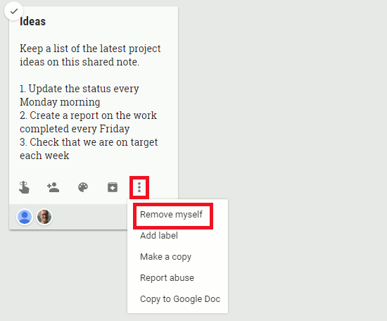 Stop seeing a shared note in Google Keep by removing yourself
