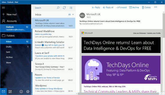The Windows 10 Mail app can be used to access Outlook.com email