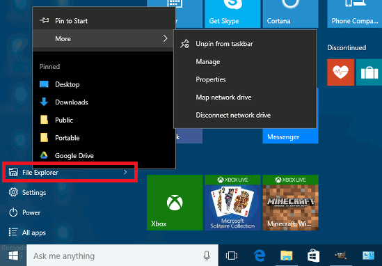 how to delete items from start menu windows 10