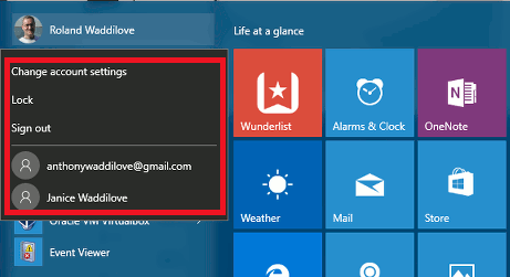 The account menu in Windows 10 on the Start menu