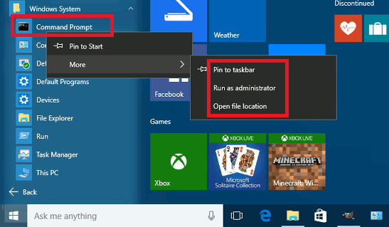 Run apps as administrator form the Windows 10 Start menu
