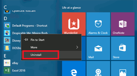 Uninstall apps from the Windows 10 Start menu