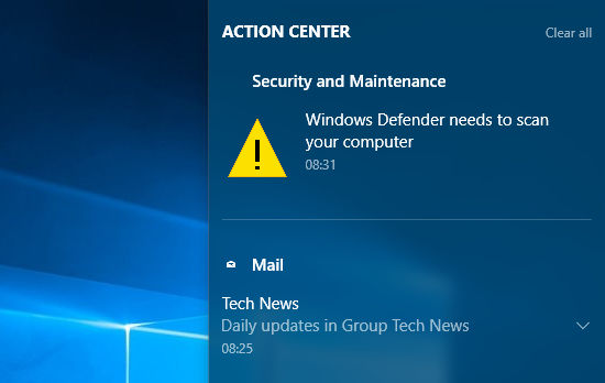 New Action Center notification style in Windows 10