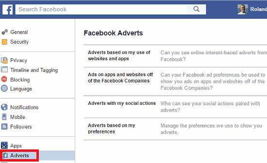 Facebook adverts settings