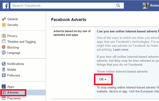 Facebook advert settings