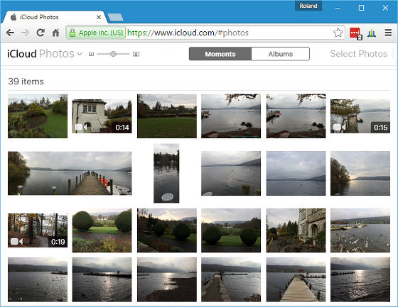 The Photos app at the iCloud website in Chrome on Windows