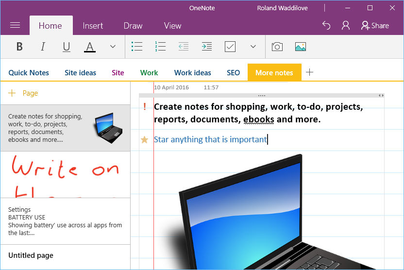 Use the Microsoft OneNote app to store notes