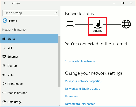 Network and Internet in the Windows 10 Settings app