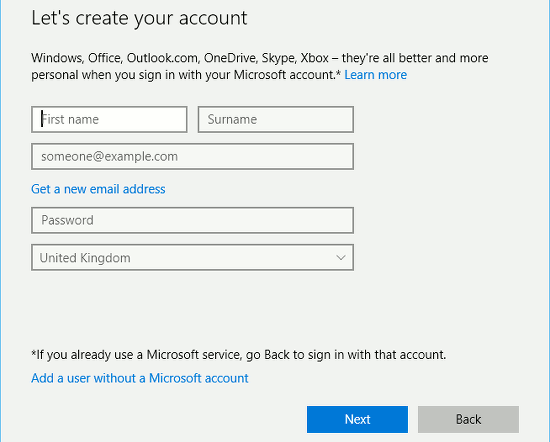 Add a new user account in Windows 10