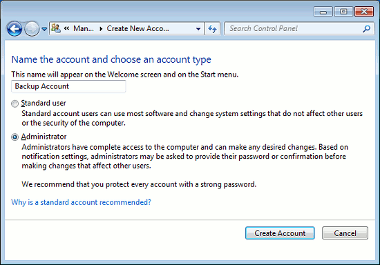 Create a new user account in Windows 7