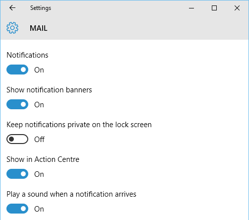 App notifications in Windows 10 settings