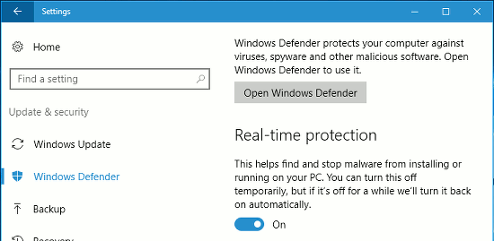 Windows 10 Settings app showing Windows Defender