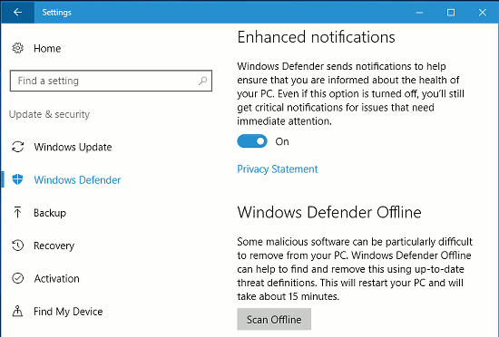 Windows Defender Offline in Windows 10