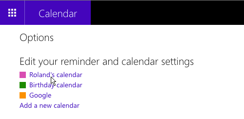 Microsoft Office web apps Calendar settings