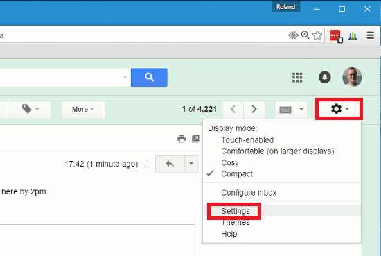 Go to Settings on the gear menu in Gmail