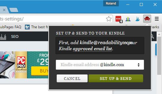 The Readability extension for Chrome sends pages to Kindle