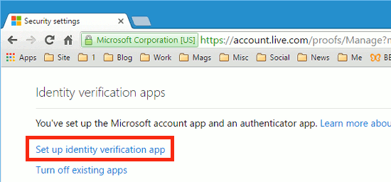 Set up 2 factor authentication with a Microsoft account