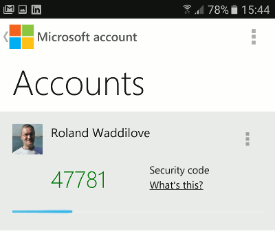 Microsoft account app on Android