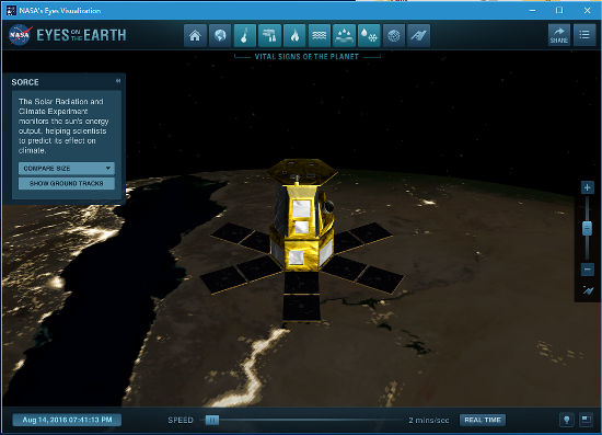 NASA's Eyes space exploration app running on Windows