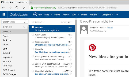 Web mail using the Outlook.com website
