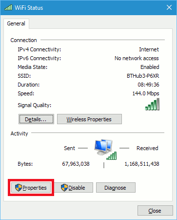 Network properties in Windows