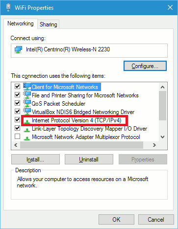 Wi-Fi properties in Windows