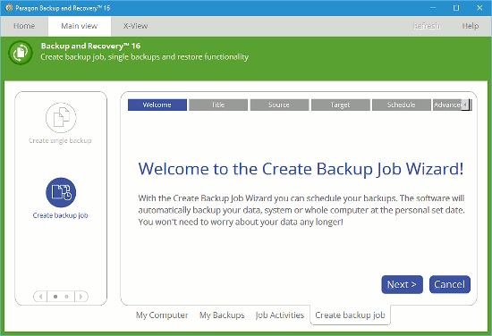 Create a backup job with Paragon Backup and Recovery 16