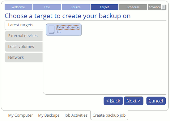 Select the target for the backup using Paragon Backup and Recovery 16