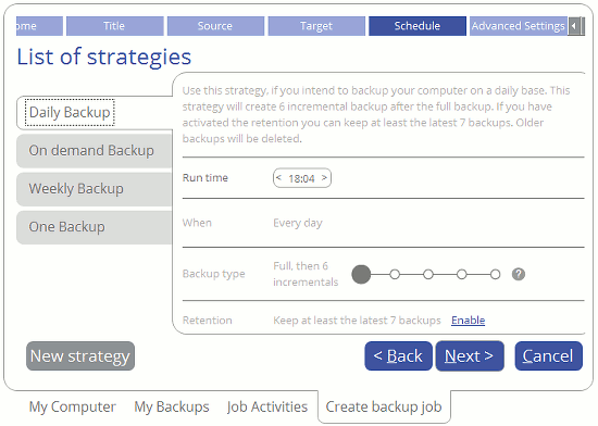 Select a backup plan in Paragon Backup and Recovery 16