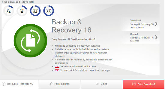 Get a free copy of Paragon Backup and Recovery 16