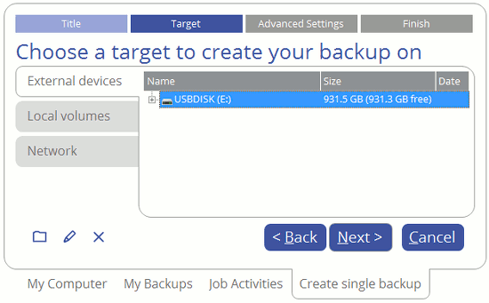 Select the backup options in Paragon Backup and Recovery 16