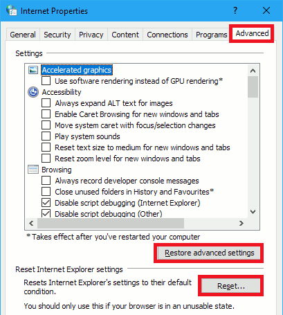 Internet Options for Internet Explorer in Windows
