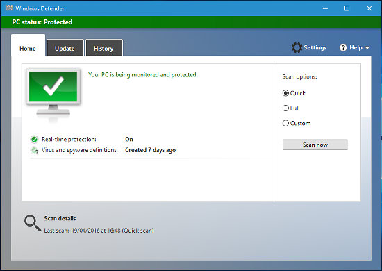 Windows Defender antivirus and antispyware software