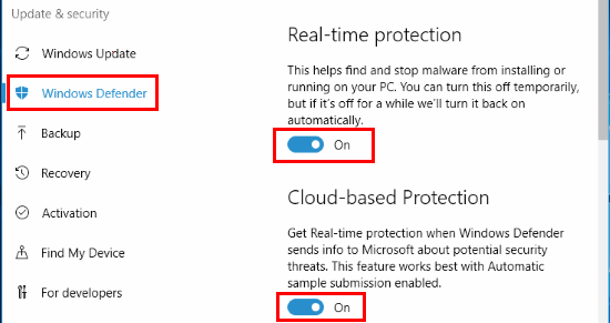Windows Defender settings