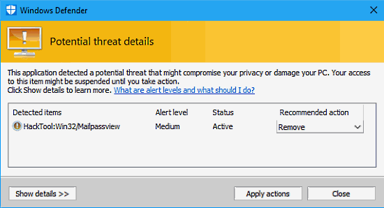 Windows Defender detects malware