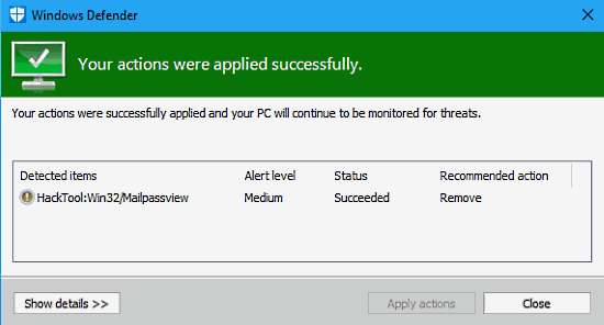 Windows Defender removes malware