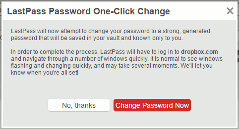 Automatically change passwords with LastPass password manager