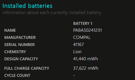 Battery details in the battery report generated in Windows 10