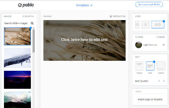 Pablo online image editor for creating shareable images