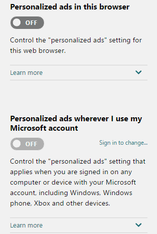 Microsoft privacy settings