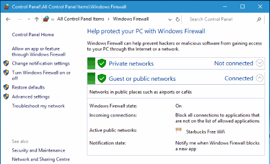 Check the status of Windows Firewall