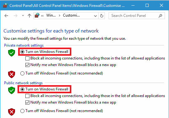 Turn on Windows Firewall and protect your PC