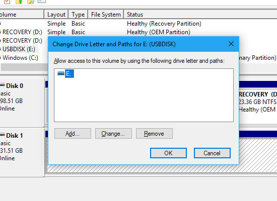 The Disk Management tool in Windows - assign a drive letter to a disk