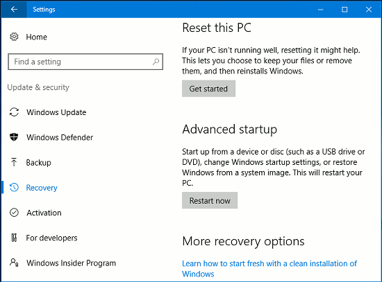 Windows 10 Settings app - reset the PC using the recovery options