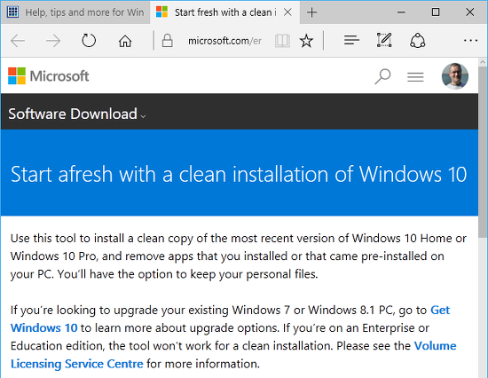 how to perform clean install of windows 10